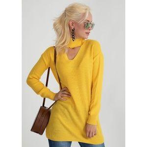 Sweaters - Yellow ribbed choker neck wool blend sweater